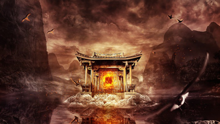 Chinese shrine wallpaper