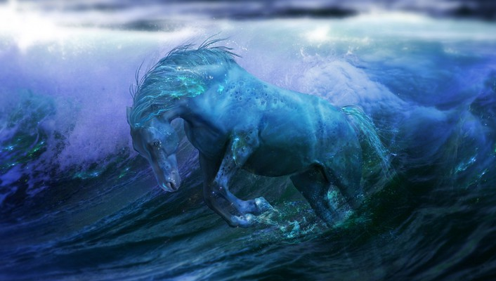 Fantasy art horses artwork fan sea wallpaper