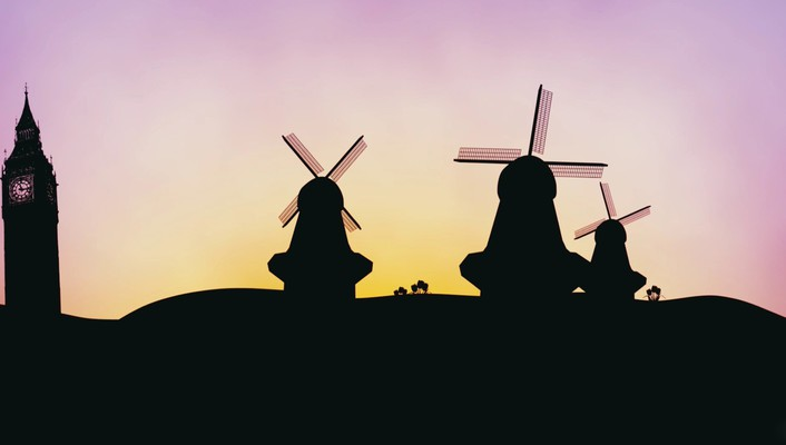 Hop 2011 cartoons silhouettes windmills wallpaper