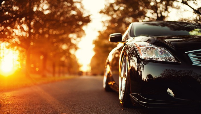 Infiniti g37 sun autumn black cars wallpaper