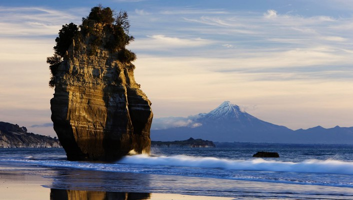 Mount new zealand taranaki beaches landscapes wallpaper