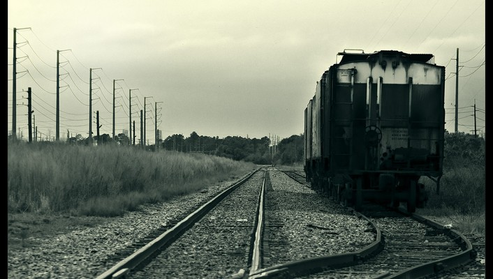 Black and white trains wallpaper