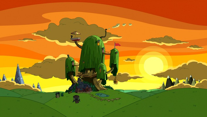 Cartoon network sunset nature houses adventure time wallpaper