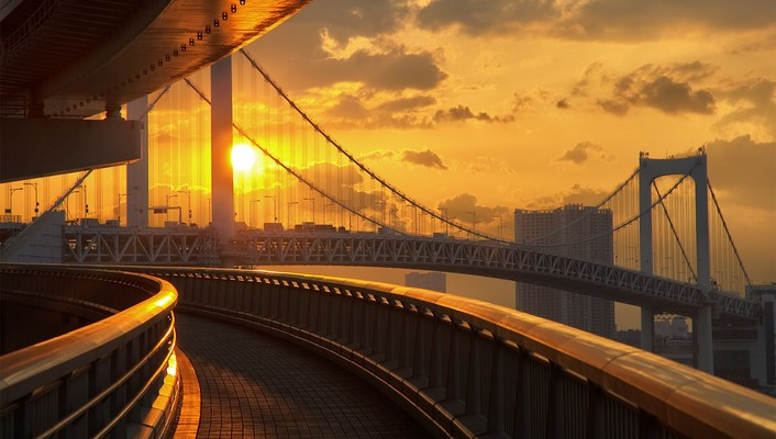 Sunset tokyo bridges rainbow bridge skies wallpaper