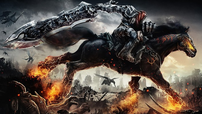 Evil dead darksiders horses awesomeness clown wallpaper