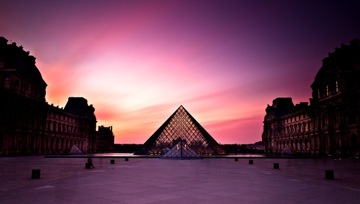 Sunset louvre museum wallpaper