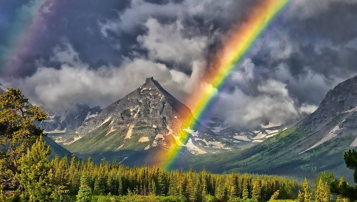 Mountains nature rainbows wallpaper