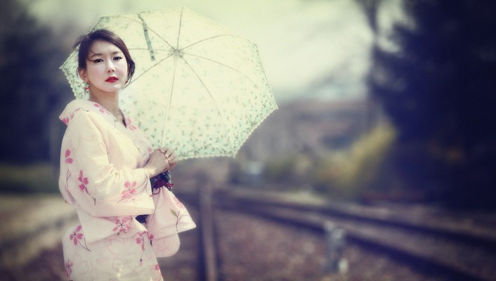Kimono asians korean parasol han seo young wallpaper