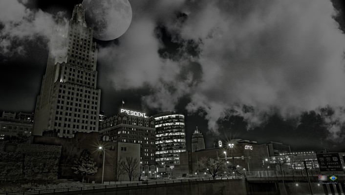 Light clouds cityscapes moon wallpaper