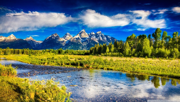 Mountains nature trees rivers wallpaper