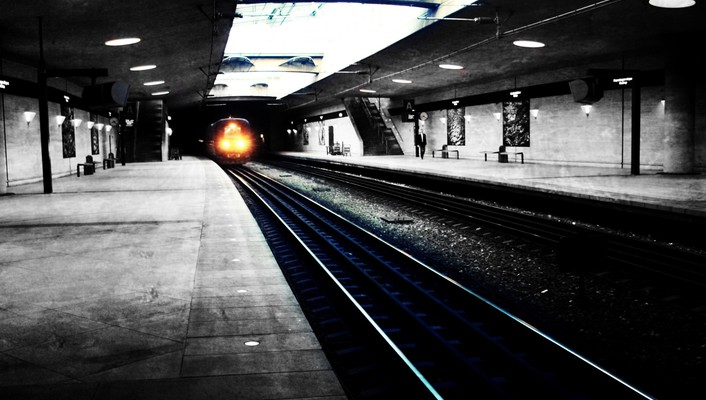 Black and white metro railroad tracks subway urban wallpaper