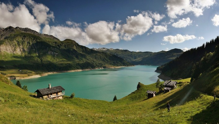 Emerald france chalets clouds forests wallpaper