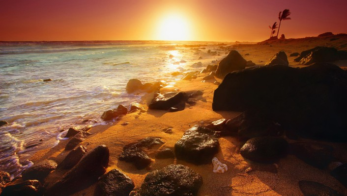 Beautiful sunset in hawaii wallpaper