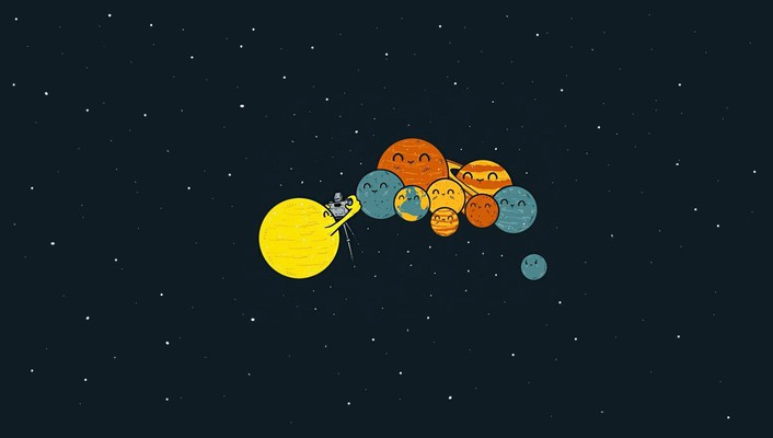 Sun stars humor funny pluto artwork wallpaper