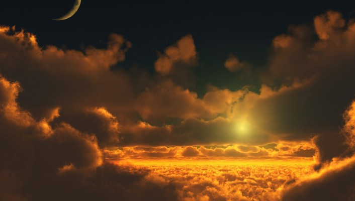 Moon clouds nature skyscapes sunset wallpaper