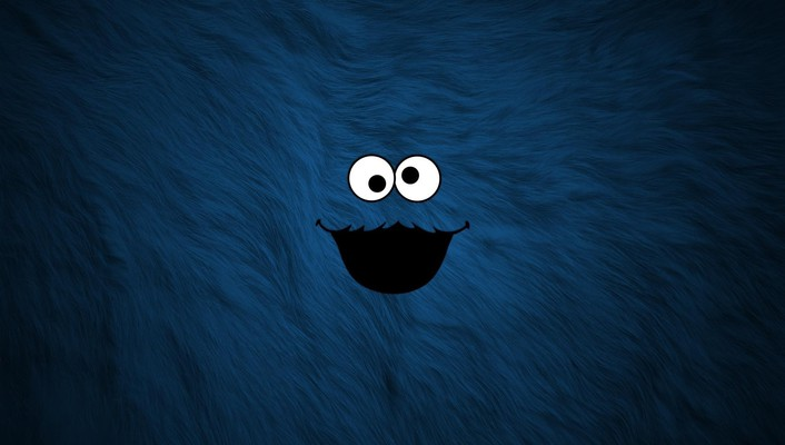 Cookie monster sesame street blue smiling wallpaper