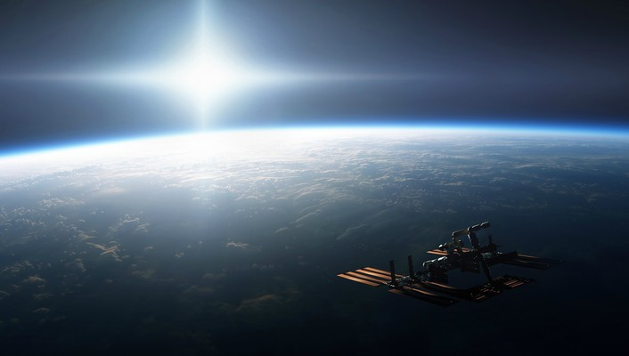 Earth international space station sun satellite wallpaper