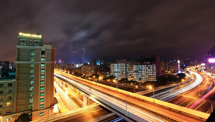 Cityscapes china buildings highways long exposure taipei wallpaper
