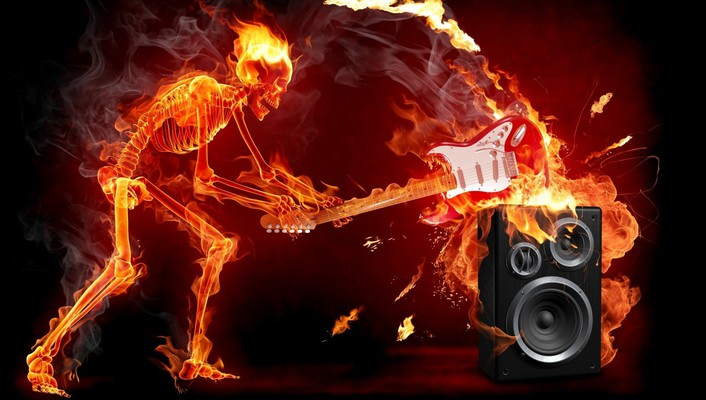 Music fire speakers skeletons guitars smash wallpaper