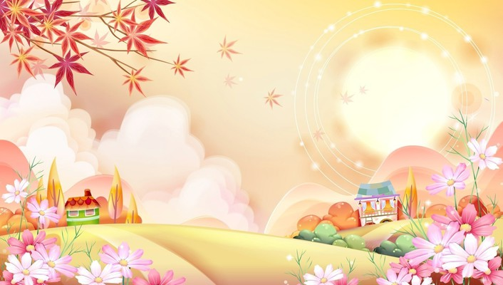 Sun artwork cartoons trees wallpaper