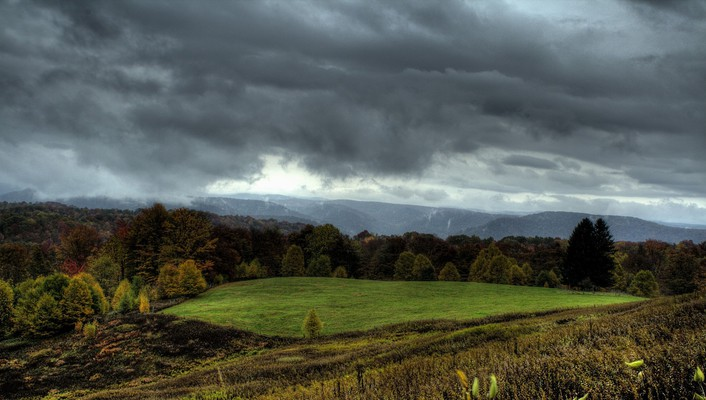 Lovely grazing meadow under stormy sky wallpaper