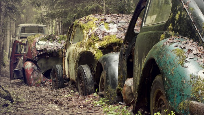 Volkswagen beetle cars moss old rusted wallpaper