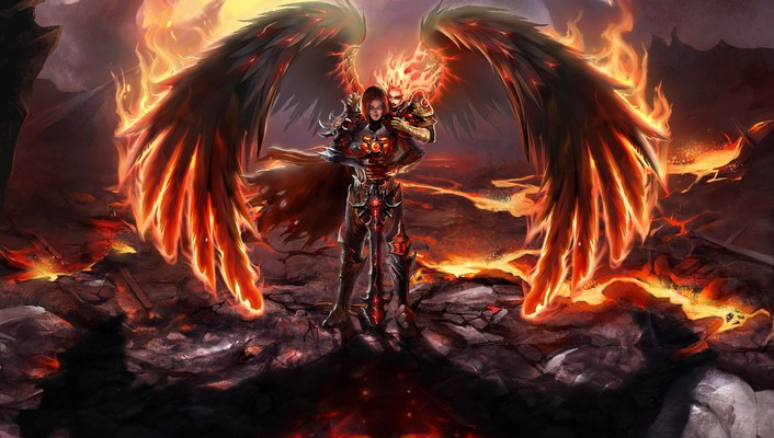Fallen angel fire heroes inferno magic wallpaper