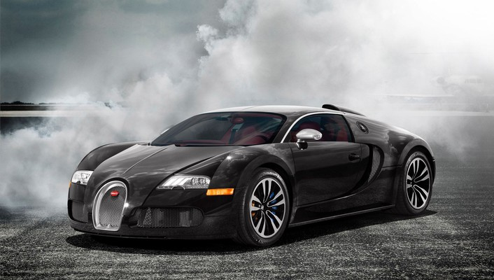 Bugatti veyron black cars mist smoke wallpaper