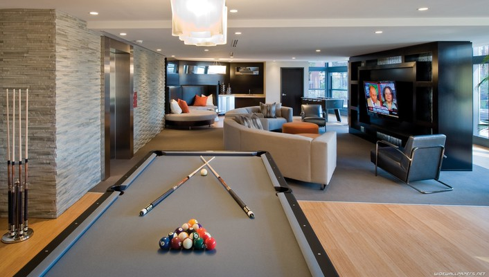 Billiards tables interior design wallpaper