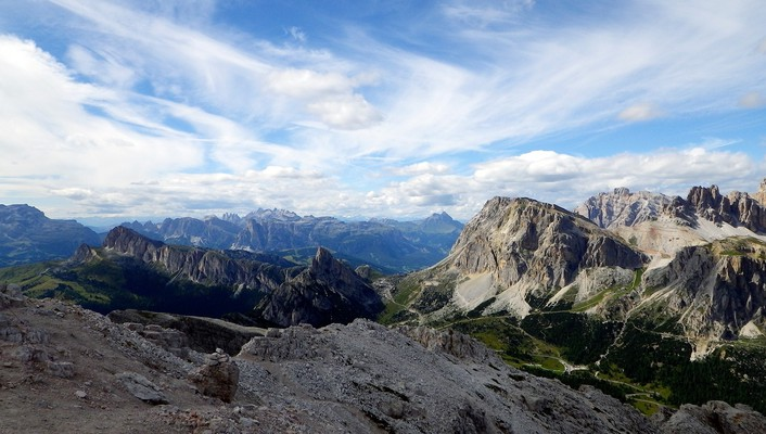 Alps falzarego italy clouds landscapes wallpaper