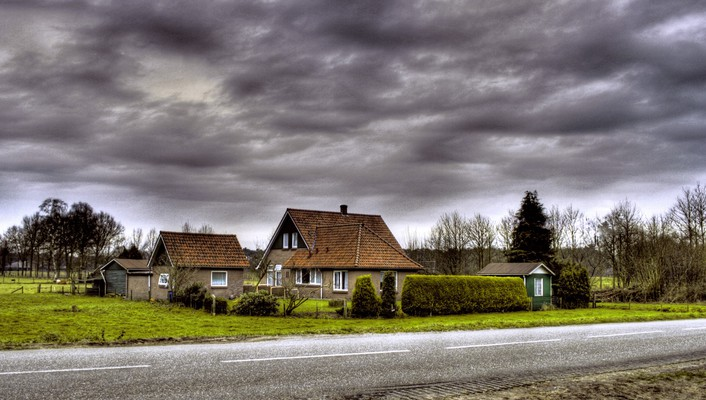 Hdr photography houses roads wallpaper