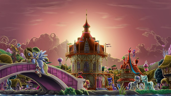 Pony friendship is magic ponyville ponies towns wallpaper