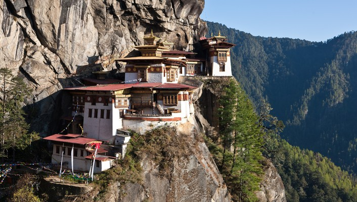 Bhutan buildings mountains valleys wallpaper