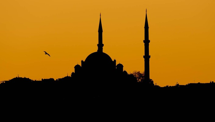 Sunset silhouettes turkey istanbul mosque wallpaper