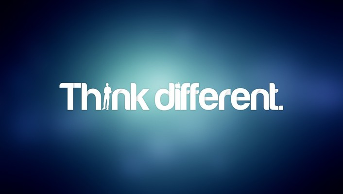 Blue text think different typography wallpaper