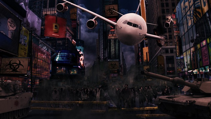 Aircraft cityscapes zombies new york city apocalyptic wallpaper