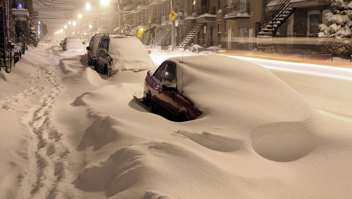 Montreal cars night snow streets wallpaper
