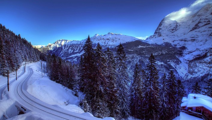 Amazing winter valley landscape hdr wallpaper