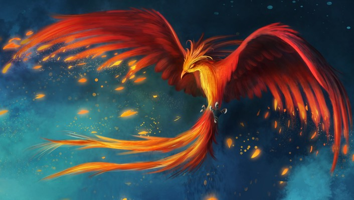 Birds animals fire phoenix feathers digital art artwork wallpaper