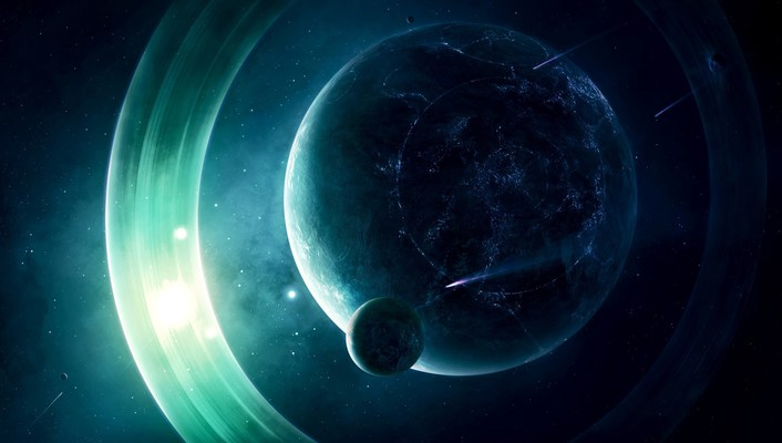 Light outer space planets rings wallpaper