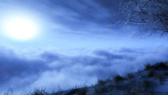 Clouds snow trees wallpaper
