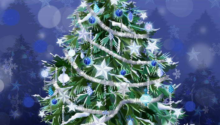 Christmas trees decorations stars tinsel wallpaper