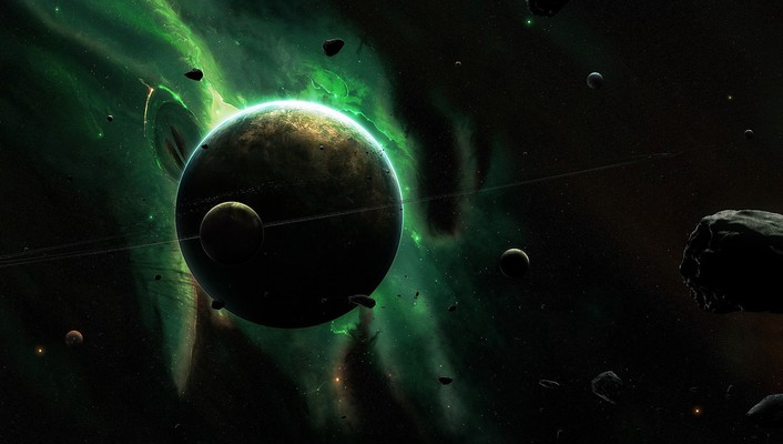 Asteroids green outer space planets rings wallpaper