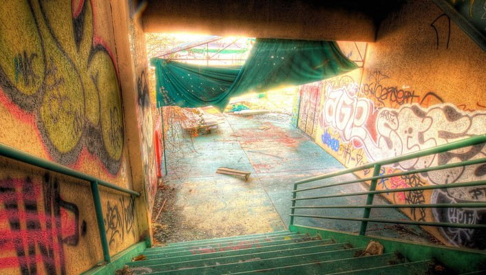Graffiti stairways wallpaper