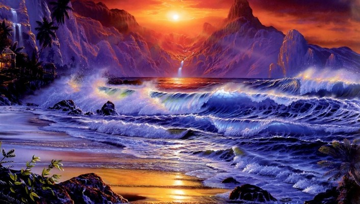 Artwork fantasy art ocean sunset waves wallpaper