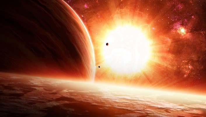 Sun bright outer space planets stars wallpaper