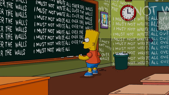 School the simpsons blackboards bart simpson wallpaper