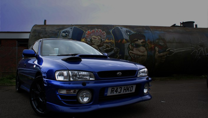 Subaru impreza blue cars tuning wallpaper