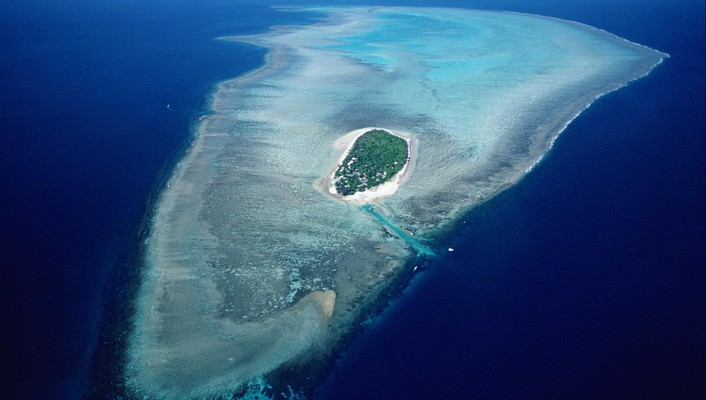 Australia great barrier reef heron island aerial wallpaper