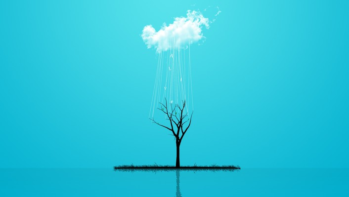Abstract alive blue minimalistic rain wallpaper
